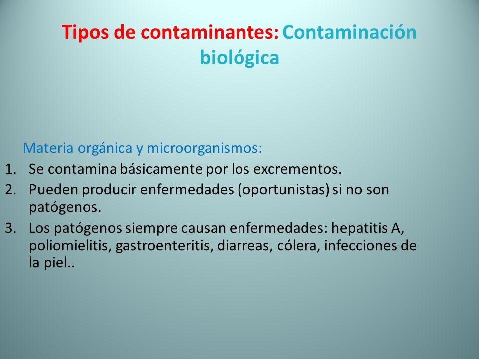 Tipos de contaminantes: Contaminación biológica