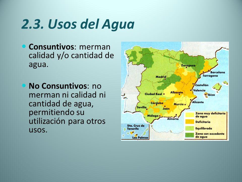 2.3. Usos del Agua Consuntivos: merman calidad y/o cantidad de agua.
