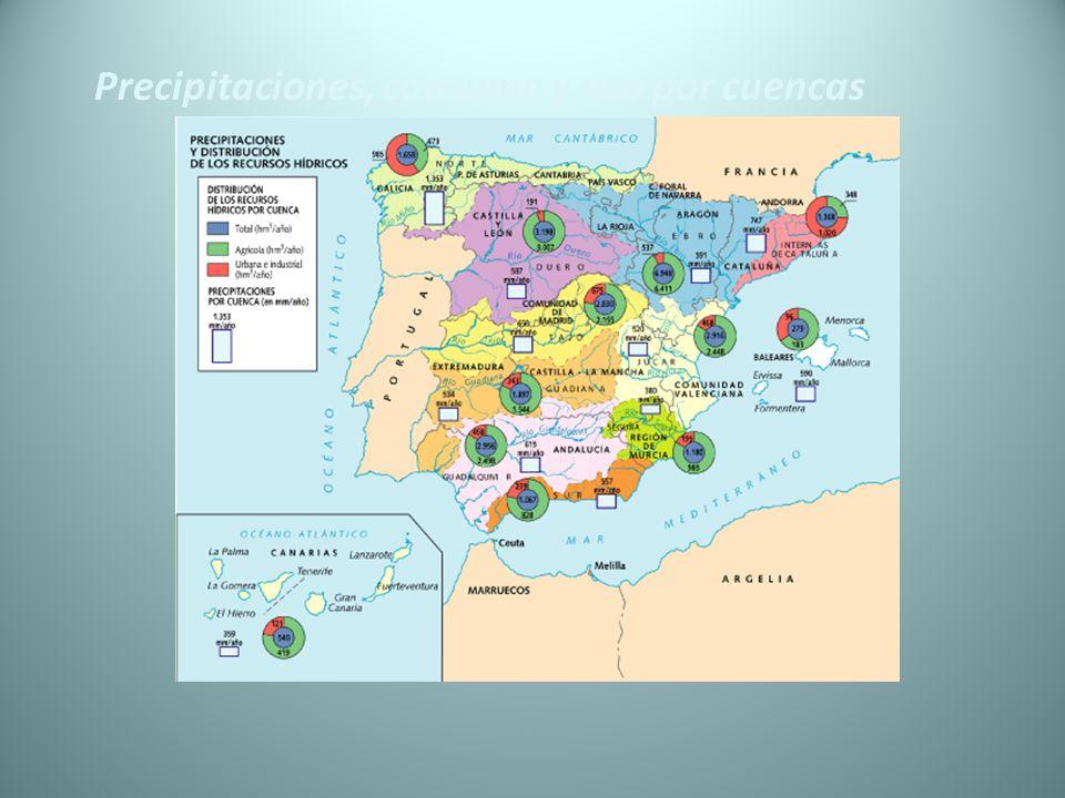 Precipitaciones, consumo y uso por cuencas