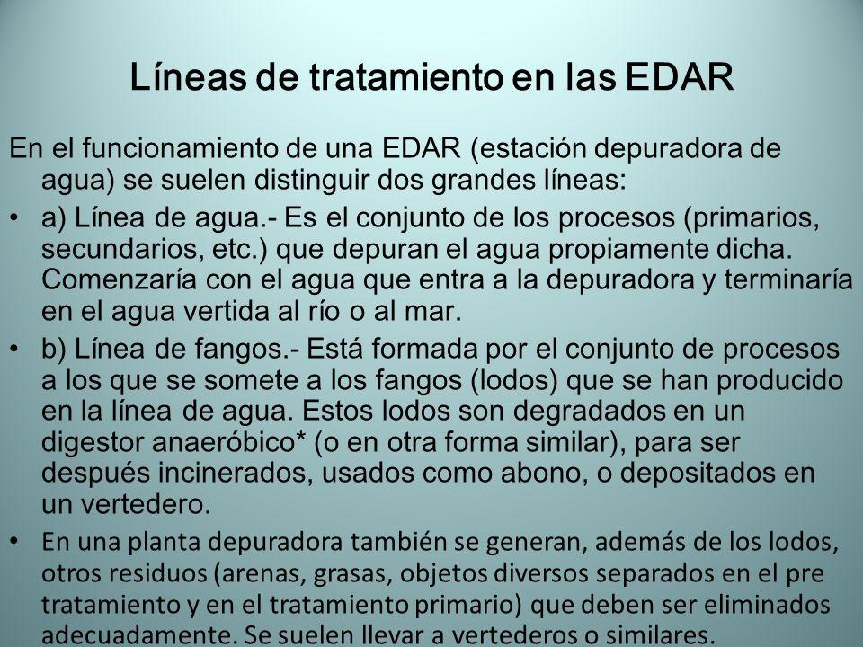 Líneas de tratamiento en las EDAR