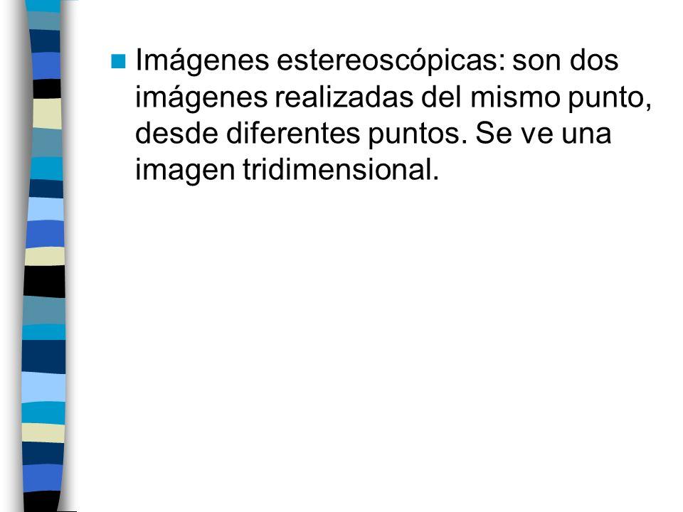 Imágenes estereoscópicas: son dos imágenes realizadas del mismo punto, desde diferentes puntos.
