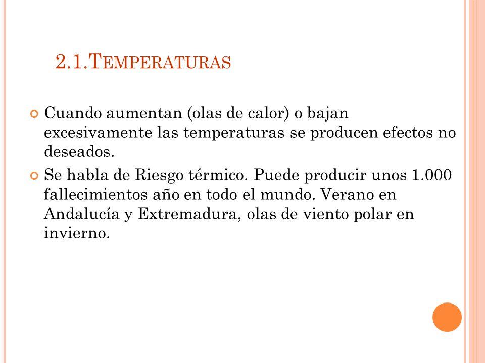 2.1.Temperaturas Cuando aumentan (olas de calor) o bajan excesivamente las temperaturas se producen efectos no deseados.