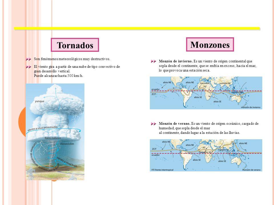 Tornados Monzones Son fenómenos meteorológicos muy destructivos.