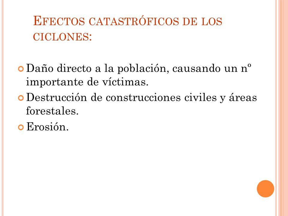 Efectos catastróficos de los ciclones: