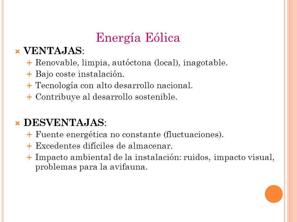 Energía Eólica VENTAJAS: DESVENTAJAS: