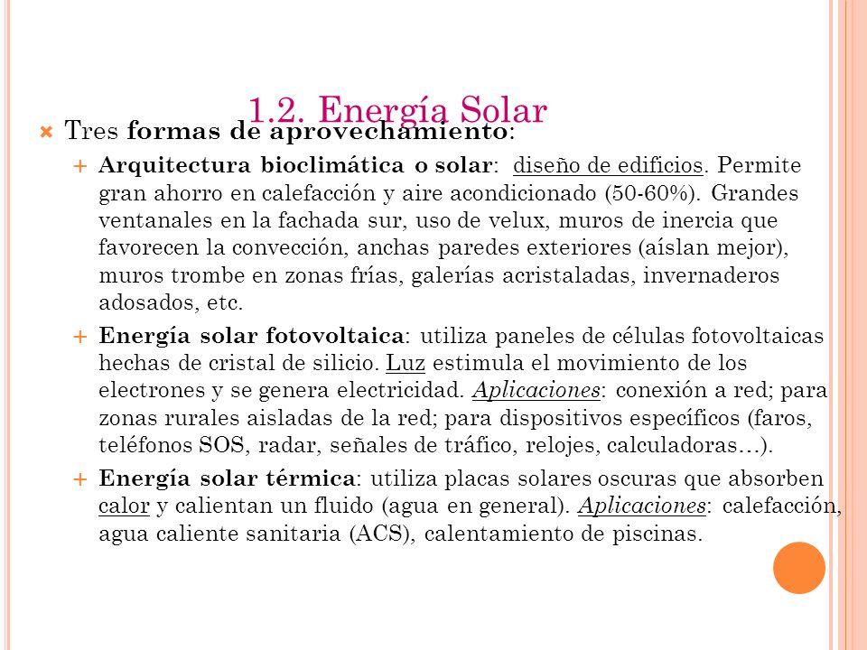 1.2. Energía Solar Tres formas de aprovechamiento: