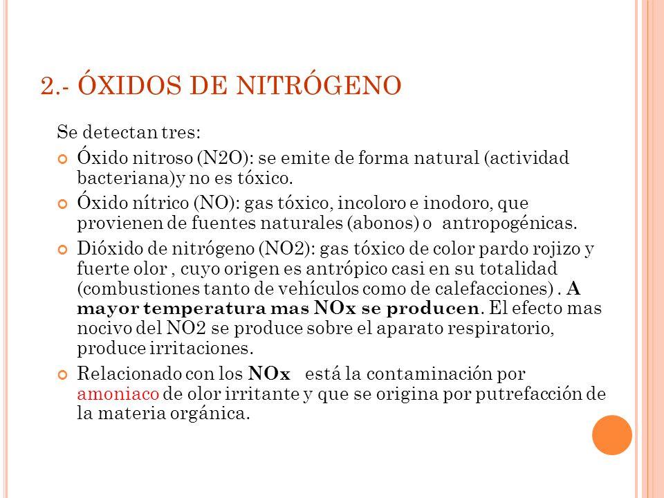2.- ÓXIDOS DE NITRÓGENO Se detectan tres: