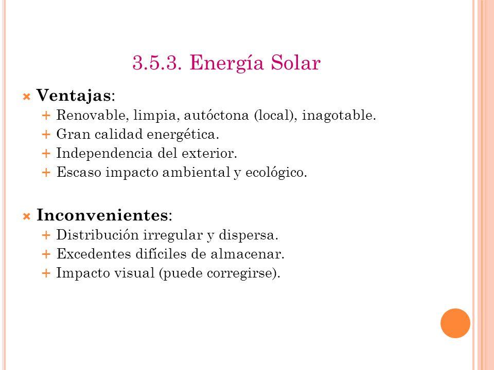 3.5.3. Energía Solar Ventajas: Inconvenientes: