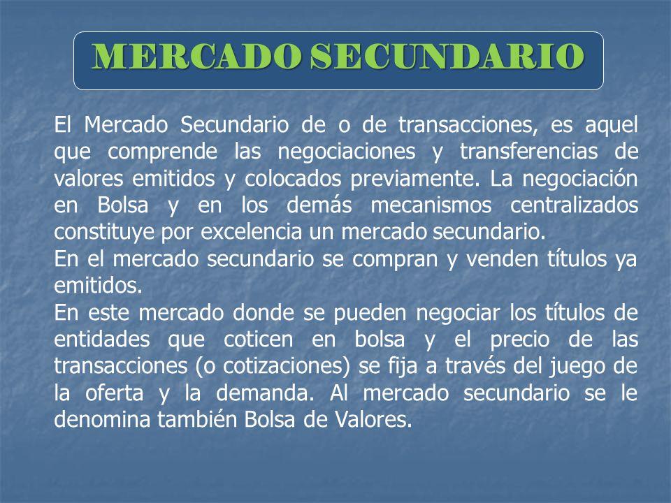 MERCADO SECUNDARIO