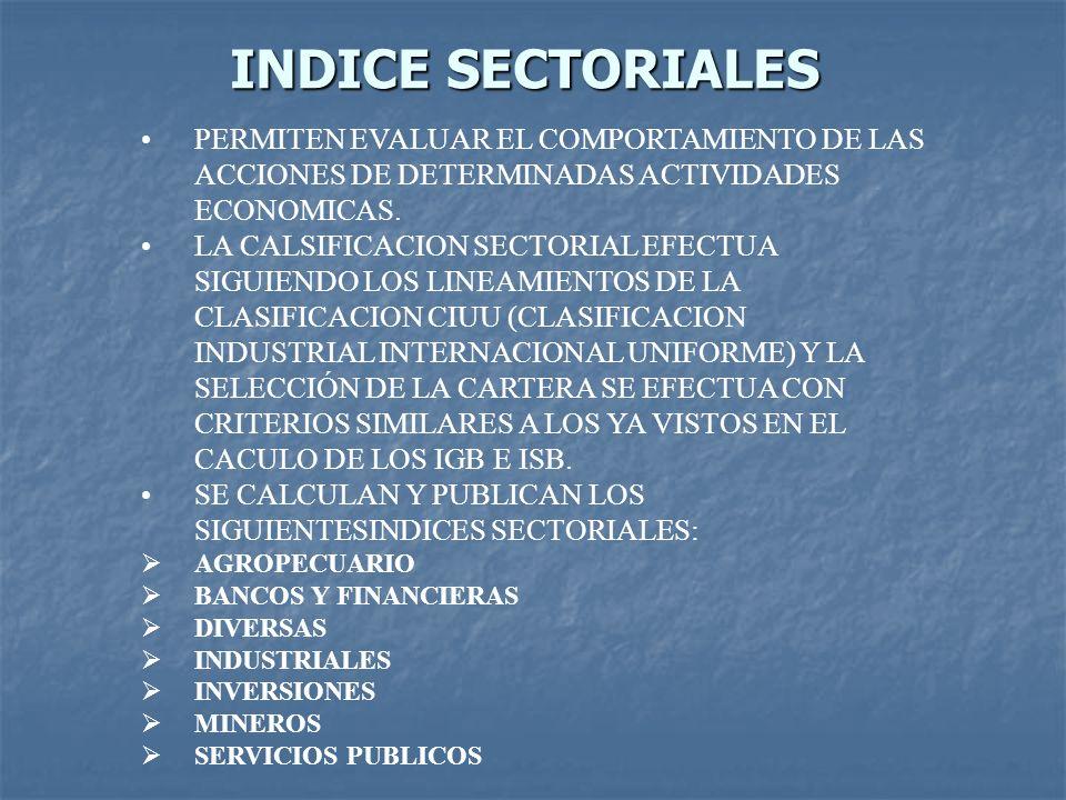 INDICE SECTORIALES PERMITEN EVALUAR EL COMPORTAMIENTO DE LAS ACCIONES DE DETERMINADAS ACTIVIDADES ECONOMICAS.