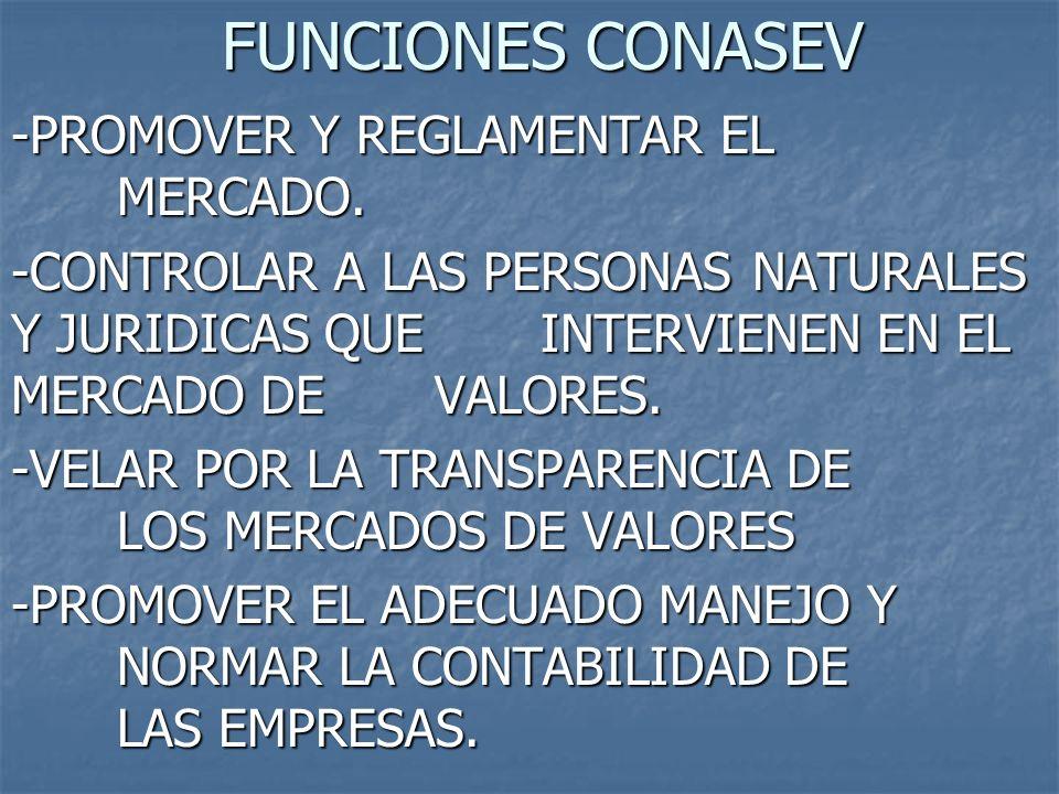 FUNCIONES CONASEV -PROMOVER Y REGLAMENTAR EL MERCADO.