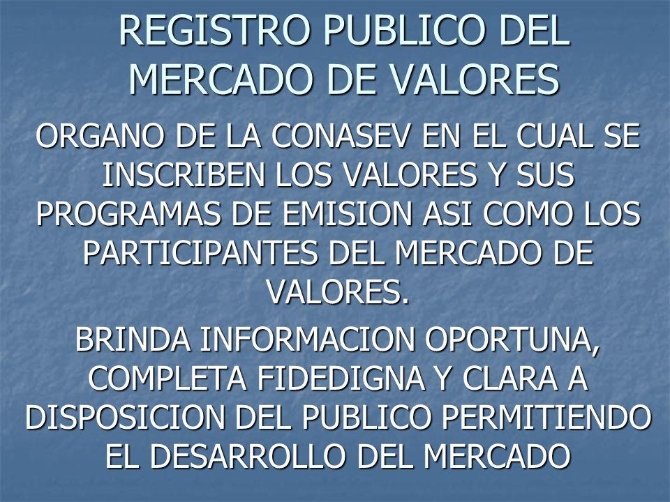 REGISTRO PUBLICO DEL MERCADO DE VALORES