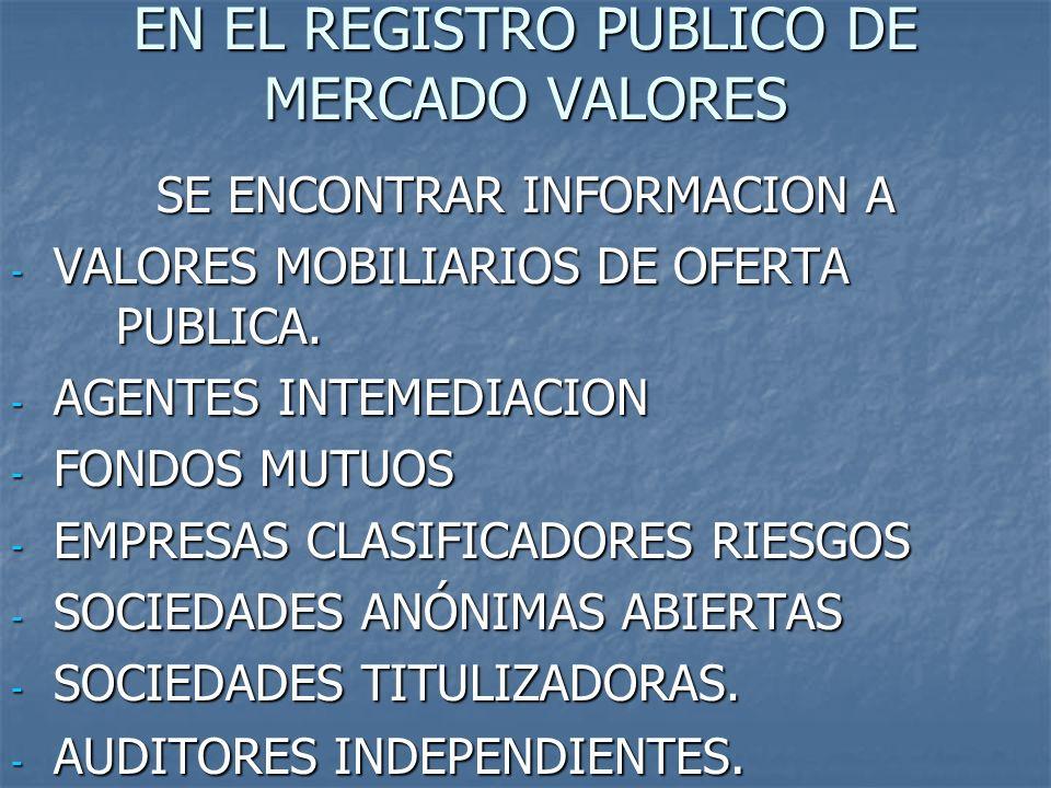 EN EL REGISTRO PUBLICO DE MERCADO VALORES