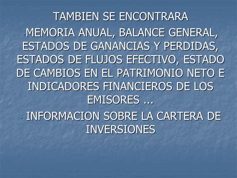 INFORMACION SOBRE LA CARTERA DE INVERSIONES