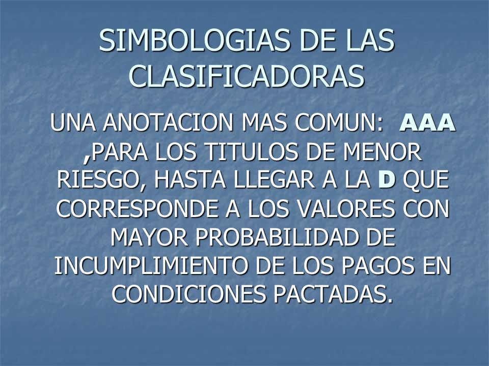 SIMBOLOGIAS DE LAS CLASIFICADORAS