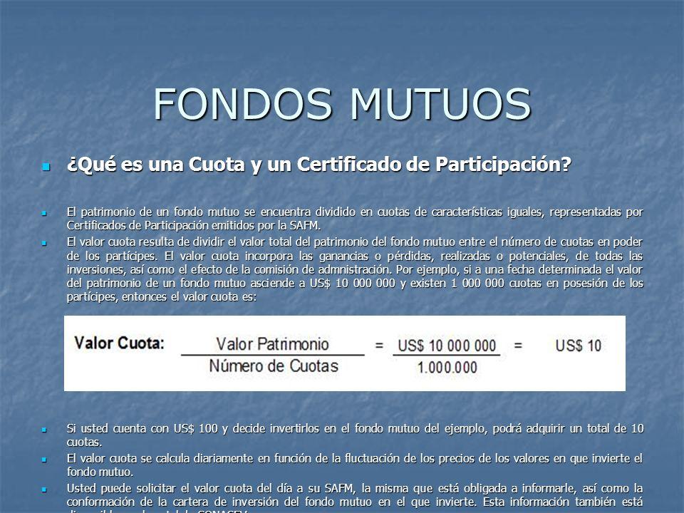 FONDOS MUTUOS ¿Qué es una Cuota y un Certificado de Participación