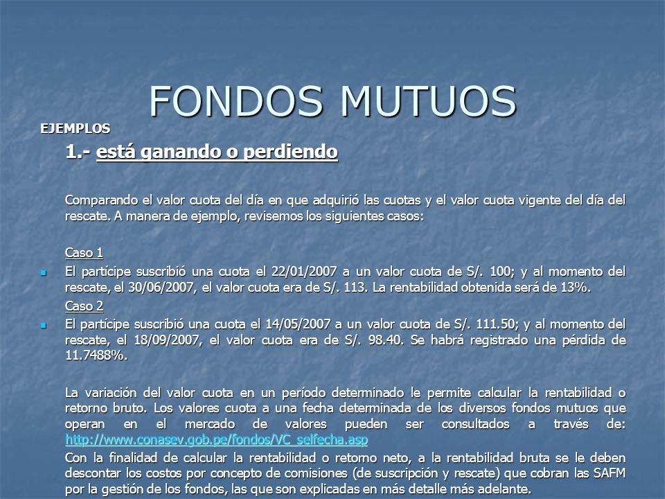 FONDOS MUTUOS EJEMPLOS 1.- está ganando o perdiendo