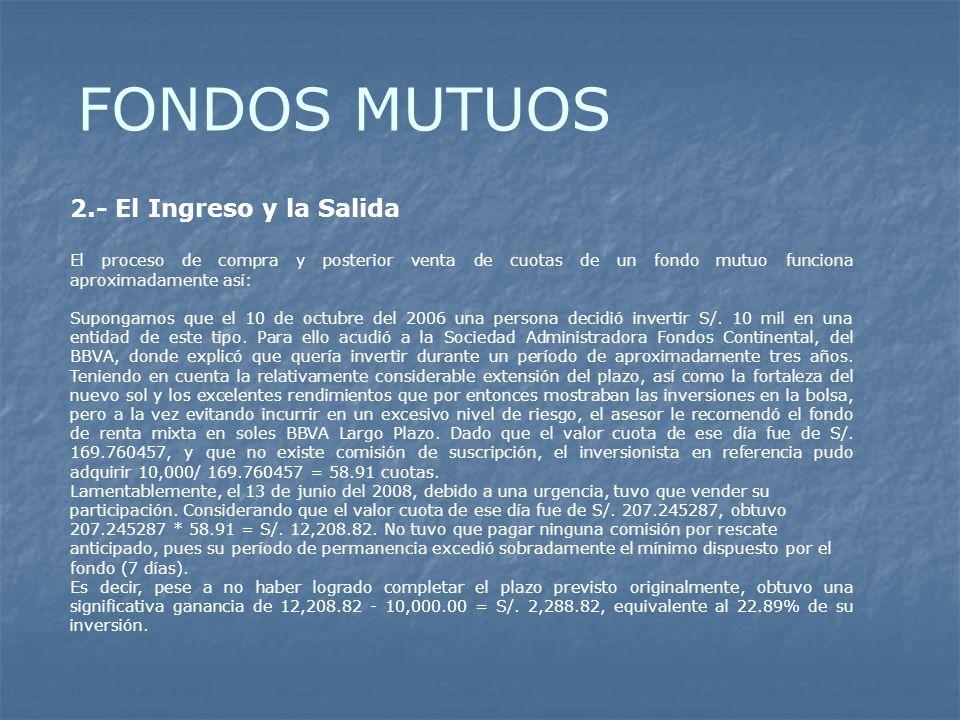 FONDOS MUTUOS 2.- El Ingreso y la Salida