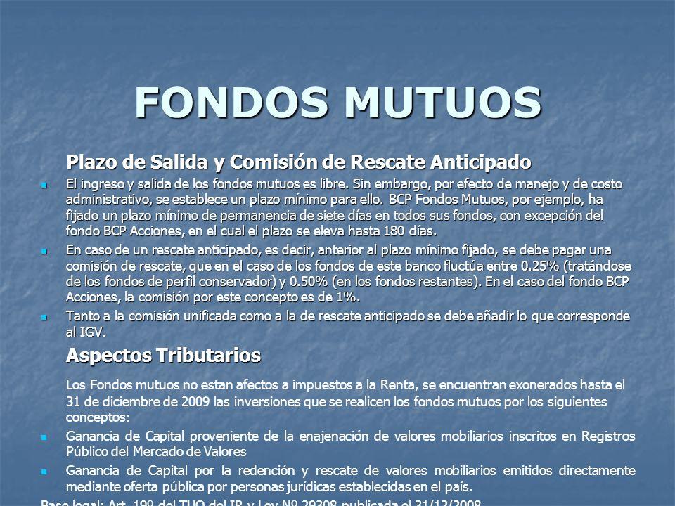 FONDOS MUTUOS Plazo de Salida y Comisión de Rescate Anticipado.