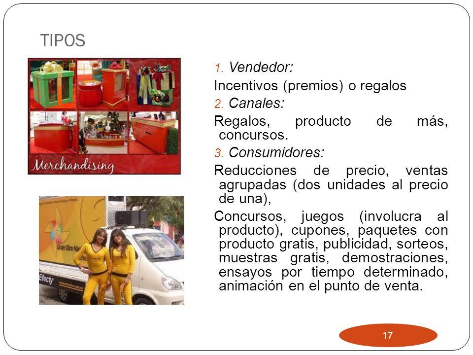 TIPOS Vendedor: Incentivos (premios) o regalos Canales: