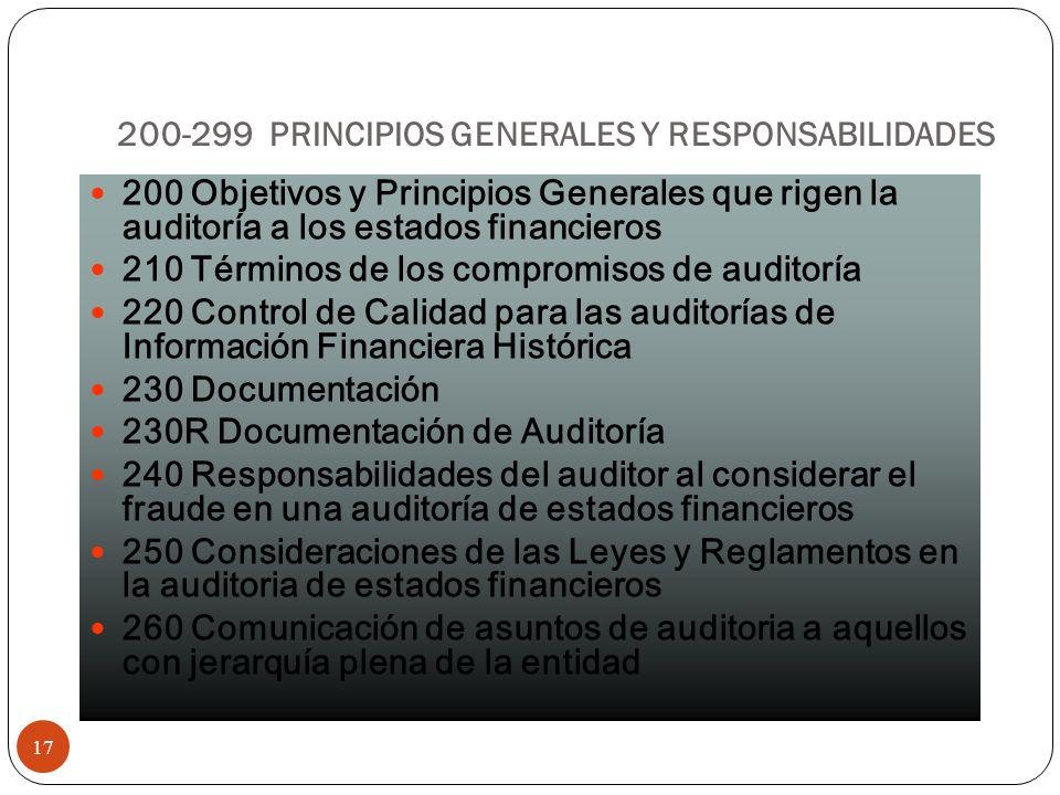 200-299 PRINCIPIOS GENERALES Y RESPONSABILIDADES