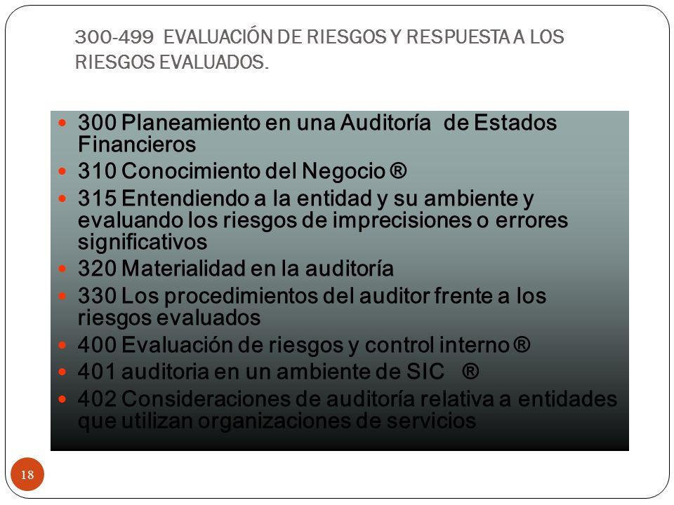 300-499 EVALUACIÓN DE RIESGOS Y RESPUESTA A LOS RIESGOS EVALUADOS.