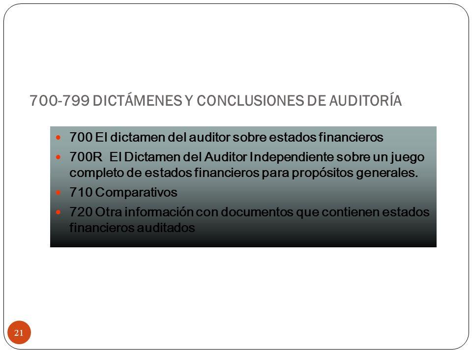 700-799 DICTÁMENES Y CONCLUSIONES DE AUDITORÍA