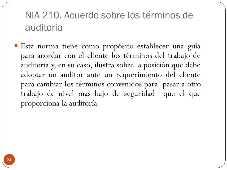 NIA 210. Acuerdo sobre los términos de auditoria