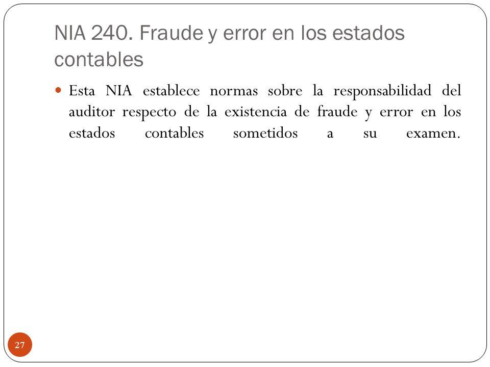 NIA 240. Fraude y error en los estados contables