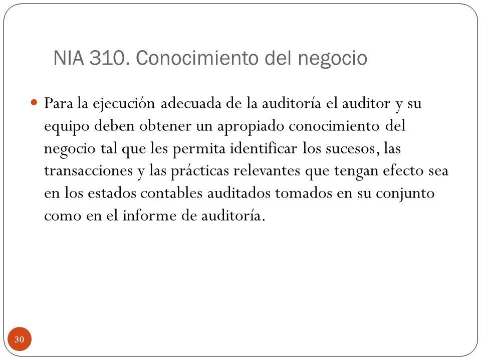 NIA 310. Conocimiento del negocio