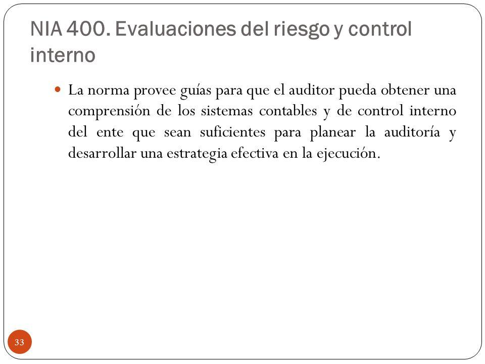 NIA 400. Evaluaciones del riesgo y control interno