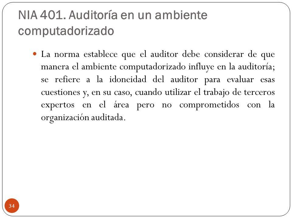 NIA 401. Auditoría en un ambiente computadorizado