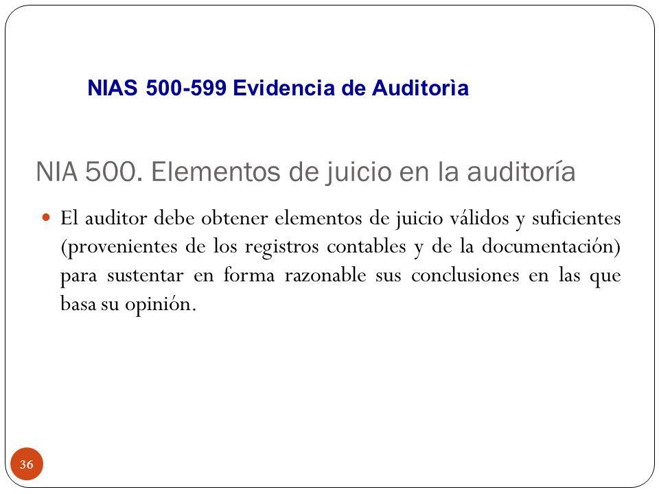 NIA 500. Elementos de juicio en la auditoría