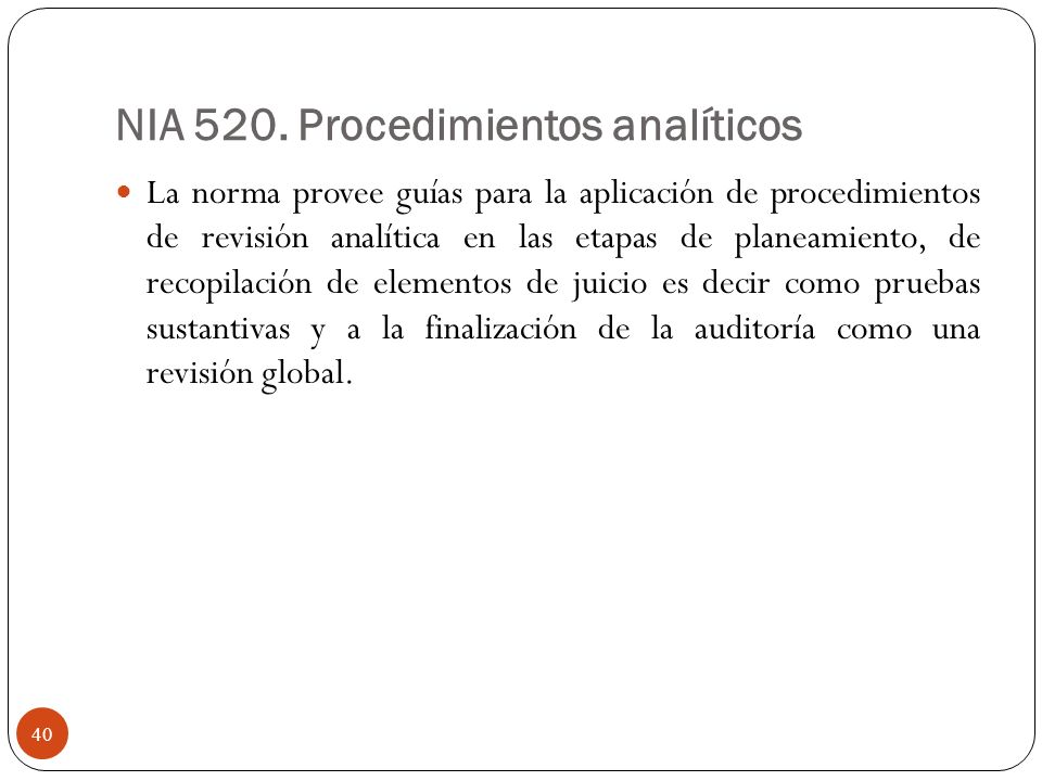 NIA 520. Procedimientos analíticos