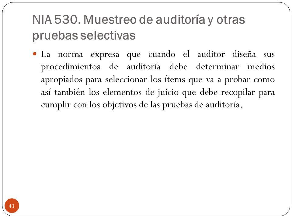 NIA 530. Muestreo de auditoría y otras pruebas selectivas