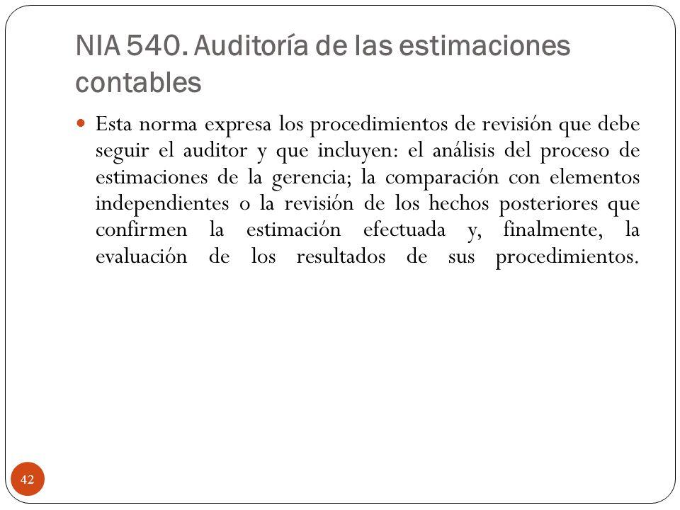 NIA 540. Auditoría de las estimaciones contables