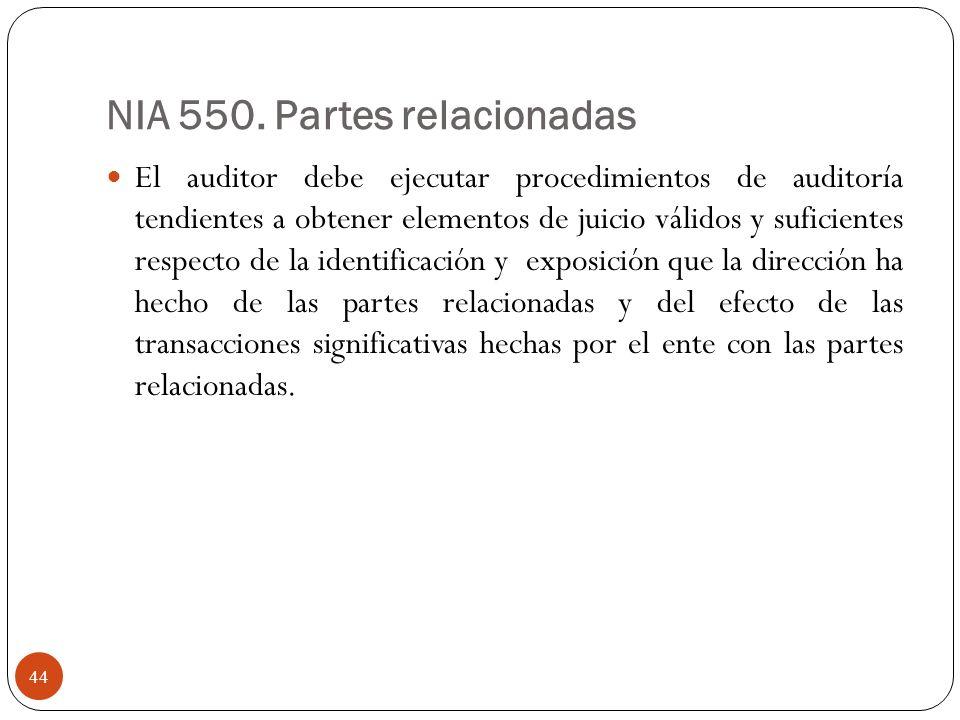 NIA 550. Partes relacionadas