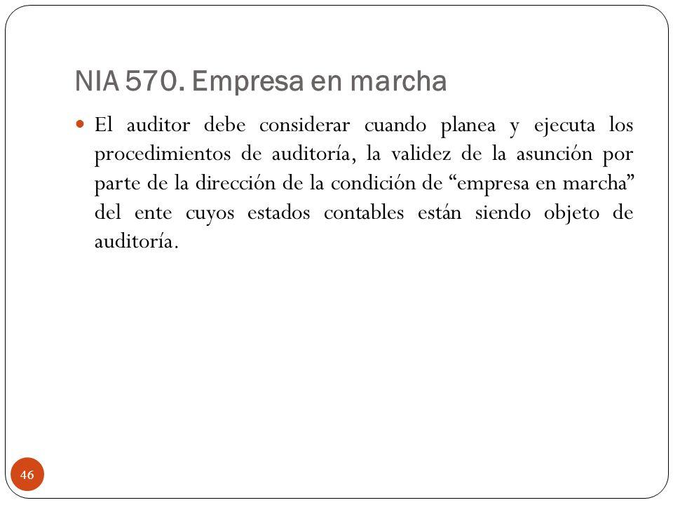 NIA 570. Empresa en marcha