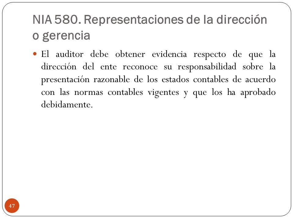 NIA 580. Representaciones de la dirección o gerencia