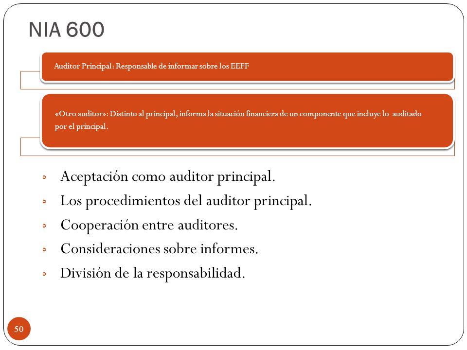 NIA 600 Aceptación como auditor principal.