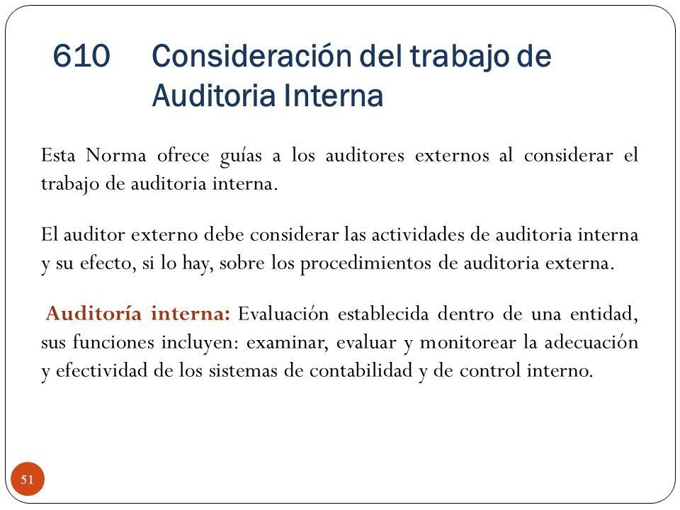 Consideración del trabajo de Auditoria Interna