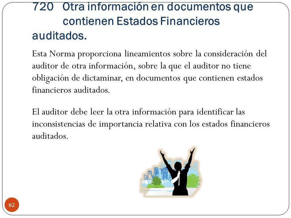 720 Otra información en documentos que contienen Estados Financieros auditados.