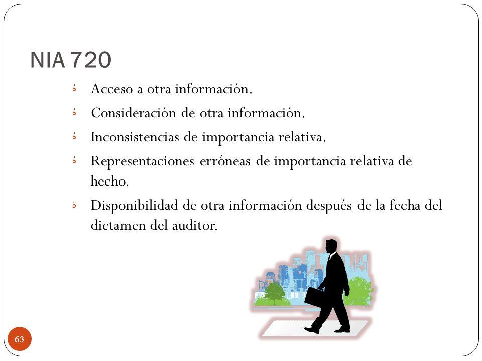 NIA 720 Acceso a otra información. Consideración de otra información.
