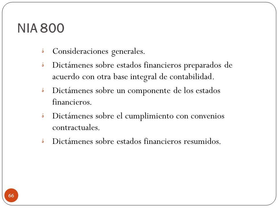 NIA 800 Consideraciones generales.