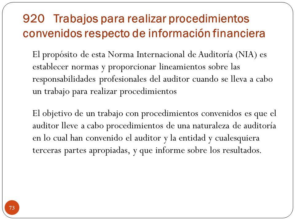 920 Trabajos para realizar procedimientos convenidos respecto de información financiera