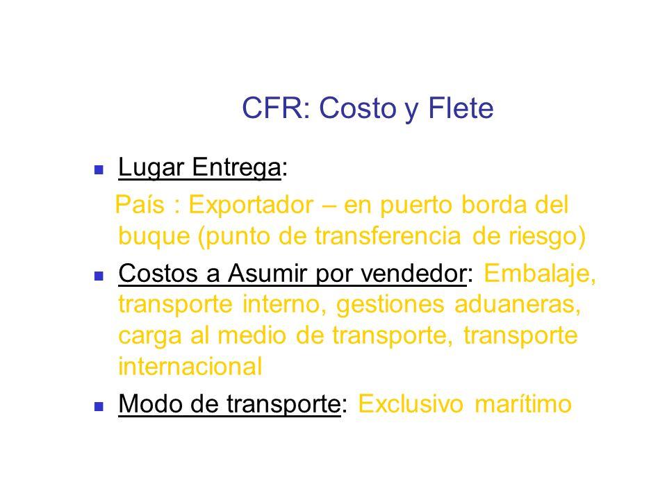 CFR: Costo y Flete Lugar Entrega: