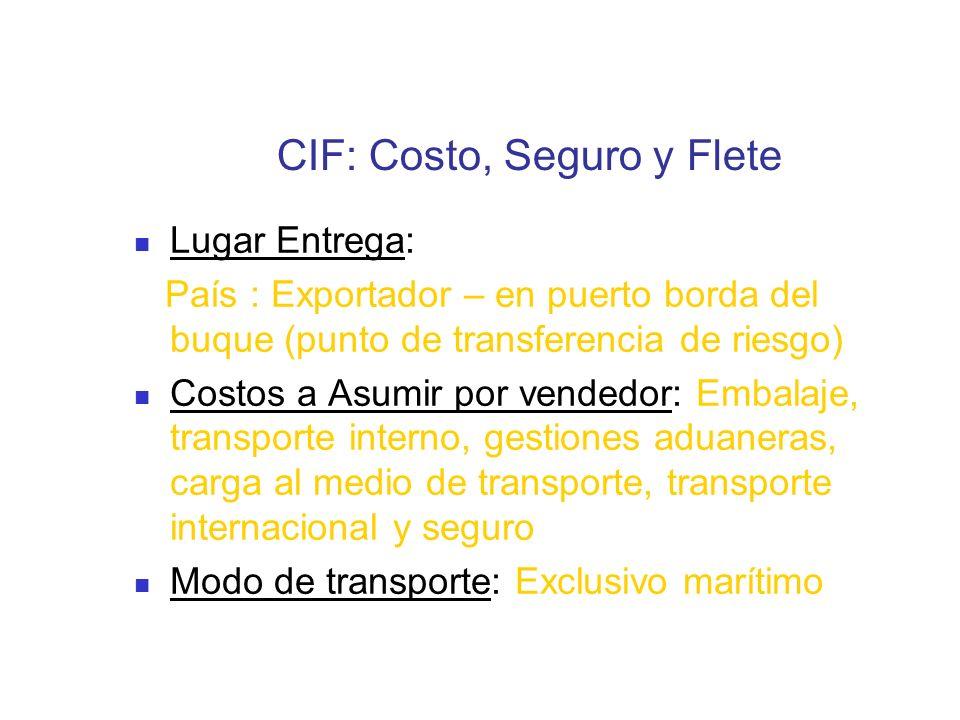 CIF: Costo, Seguro y Flete