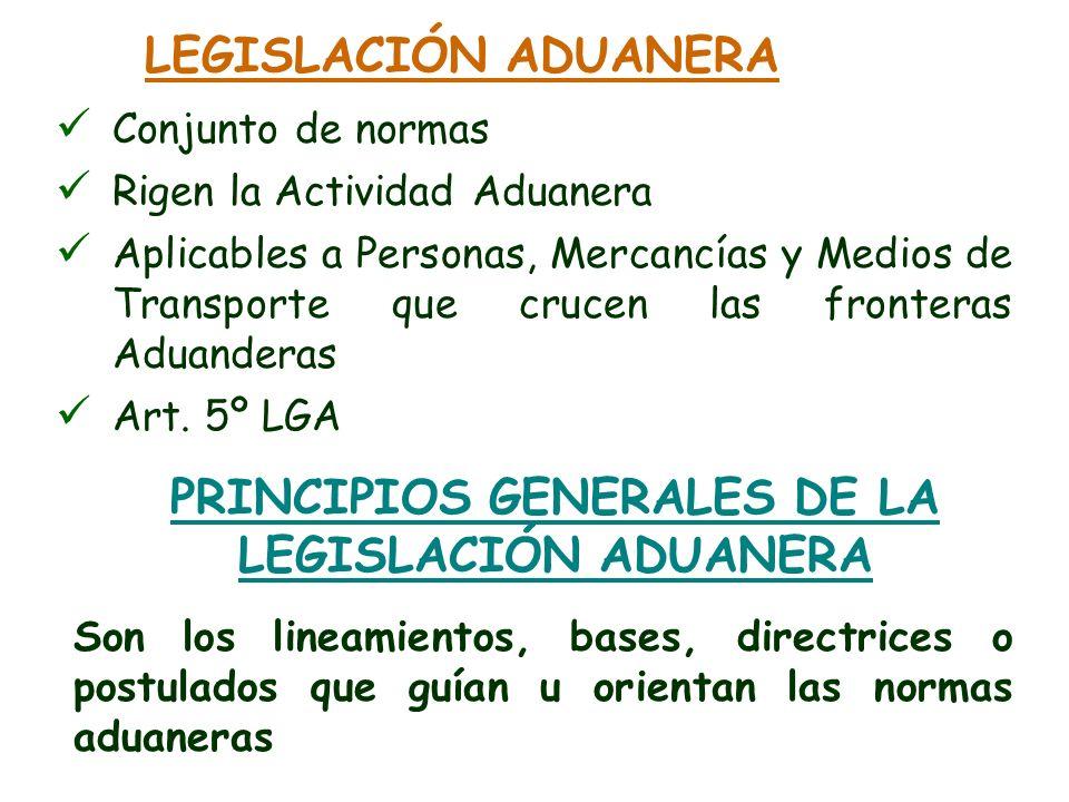 PRINCIPIOS GENERALES DE LA LEGISLACIÓN ADUANERA