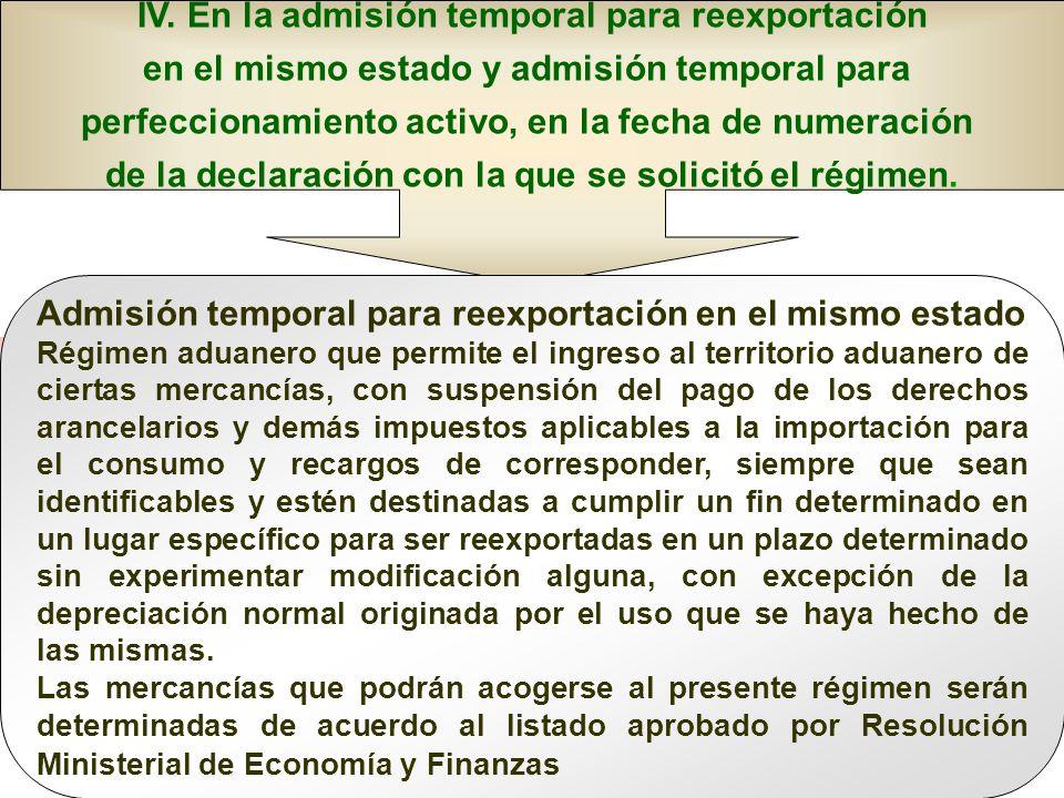 IV. En la admisión temporal para reexportación