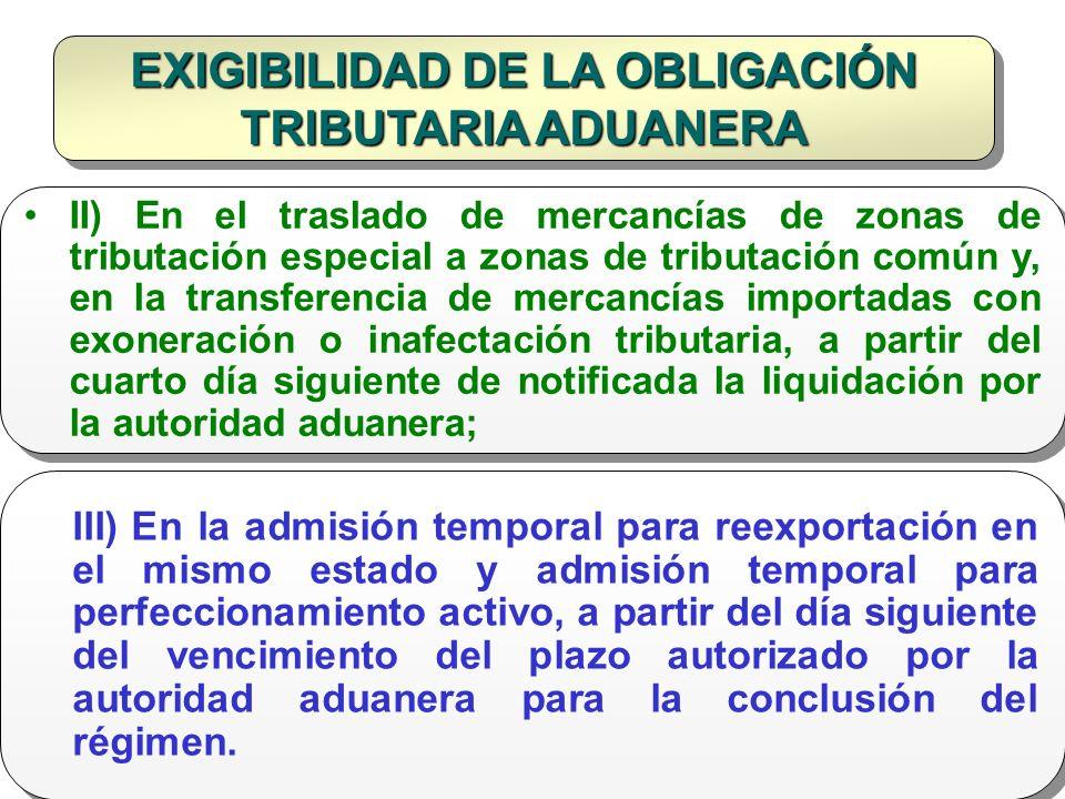 EXIGIBILIDAD DE LA OBLIGACIÓN TRIBUTARIA ADUANERA